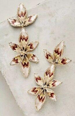 NWE Anthropologie Gas Bijoux Apaola Leaf Drop Earrings