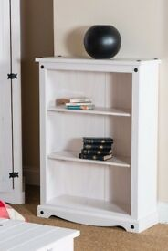 New White Cream or Grey Corona Low bookcase £75 white only available today