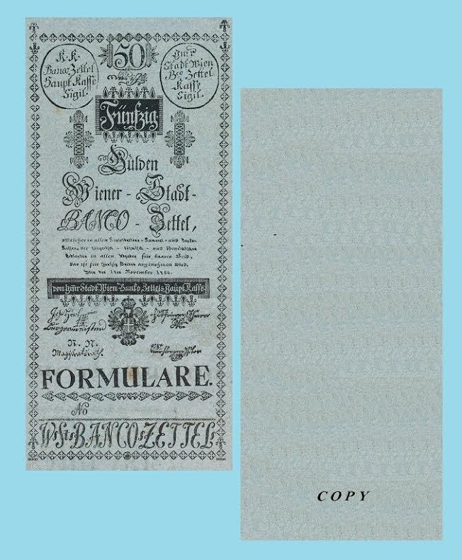 Austria 50 Gulden 1784.  UNC - Reproductions
