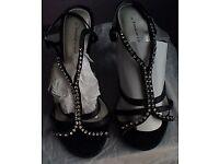 Stunning black satin rhinestoned strapped heeled sling backs by Emilio Luca x