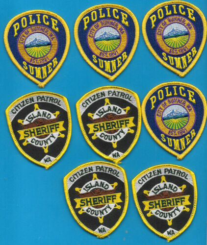 LOT OF PATCH LOT OF 8 WASH WA PATCHES SUMNER POLICE ISLAND COUNTY SHERIFF PATROL
