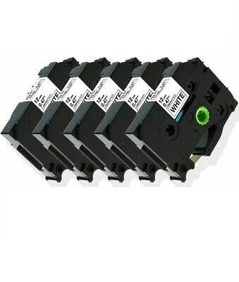 5-pkpack Tze231 Tz231 Blackwhite Label Tape For Brother P-touch Pt-d210 12mm