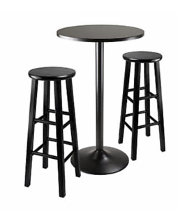 Round pub table with two stools $180