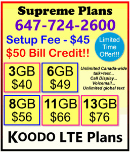 KOODO Plans - 3 / 6 / 8 / 11 / 13 GB LTE Data + $50 Credit