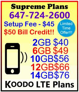 KOODO Plans - 2Gb, 6Gb, 10Gb, 12Gb, 14Gb LTE Data + $50 Bonus