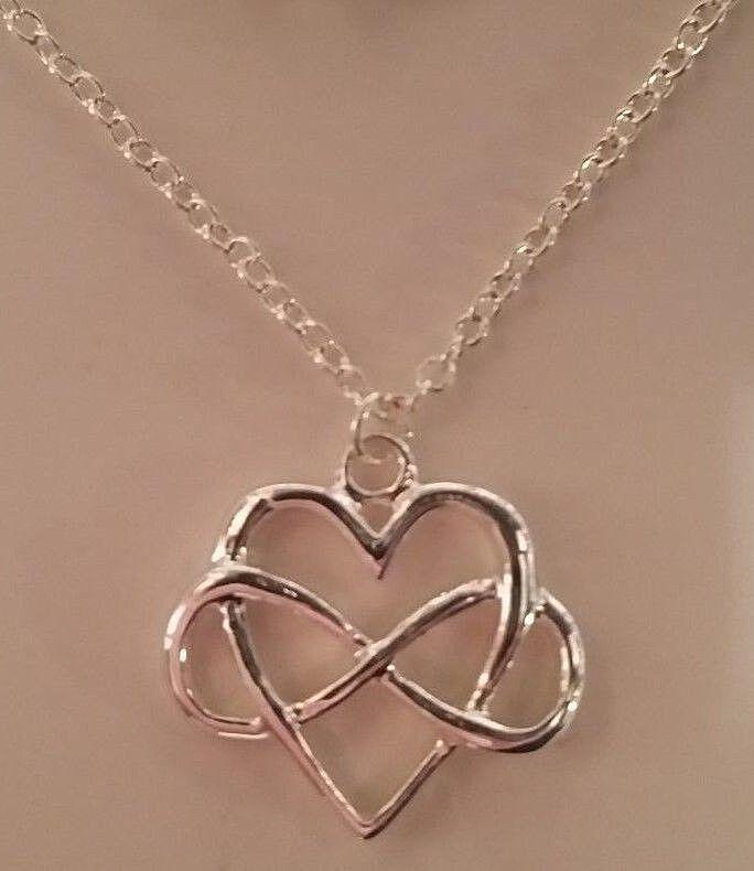 $8.09 - Delicate Celtic Love Knot Infinity Valentine Heart Pendant Necklace