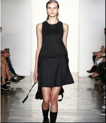 Tim Coppens designer runaway black Woll Silk Pleated Tank Top Size S BNWT £610