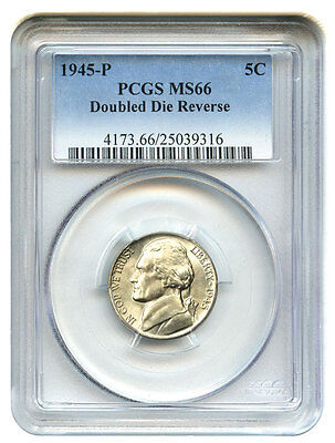 Click now to see the BUY IT NOW Price! 1945-P 5C PCGS MS66 DOUBLED DIE REVERSE JEFFERSON NICKEL