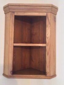 Antique Pine Corner Wall Shelf Unit