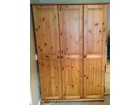 Large 3 door pine wardrobe
