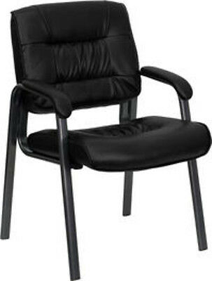 Flash Furniture Black Leather Executive Side Chair With Titanium Frame Finish