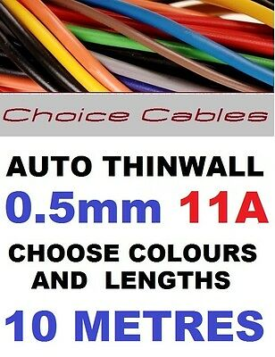 10M 0.5mm 12V AUTO CABLE 11A 16/0.2 CAR BOAT LOOM WIRE THINWALL AUTOMOTIVE