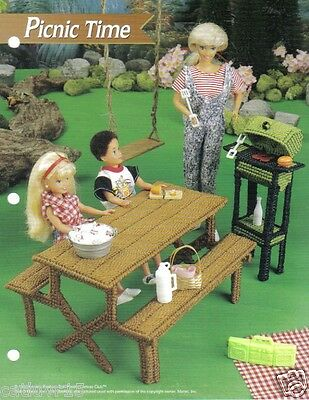 Fashion Doll Picnic Time Table & Grill Plastic Canvas Pattern