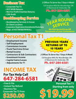 INCOME TAX CRA AUDIT HST BOOKKEEPING PAYROLL BUSINESS REGISTRATO