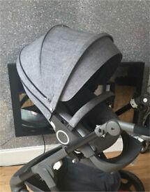 Stokke black melange textiles (only) can come with v4 shopping bag