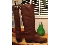 Long lined ladies leather boots size 5