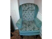 Vintage high backed armchair and sofa