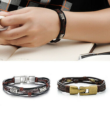Men's Braided Genuine Leather Stainless Steel Cuff Bangle Bracelet Wristband