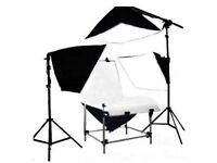 ***REDUCED*** Photography Studio, Black and White Shooting Table, Four Soft boxes, Four Lamp Bulbs