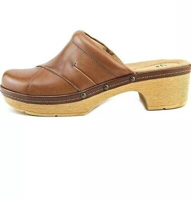 $96 Womens CLARKS PRESLET Sheen Sz US 8.5 Tan Brown Leather Clogs Shoe Mule