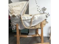Moses basket with rocking stand and mattress in like new condition
