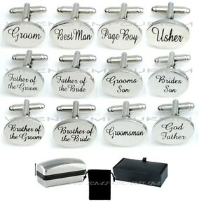 SILVER-OVAL-mens-wedding-cufflinks-cuff-link-Groom-best-man-usher-page-gift-CL03