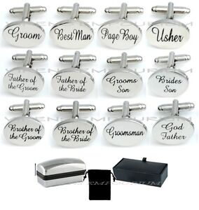 SILVER-OVALE-Mens-WEDDING-Gemelli-Polsino-Collegamento-Groom-Best-Man-Usher-Page-REGALO-CL03