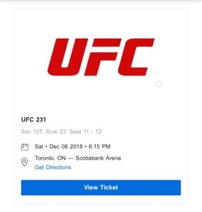 UFC 231 ROW 23 TICKETS (2 Available)