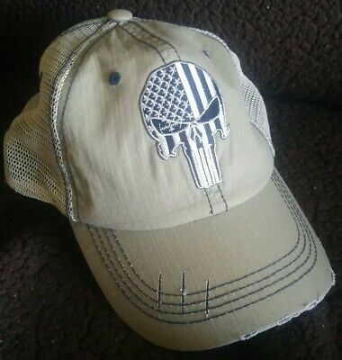 Punisher SWAT Flag Unstructured Hat Low Profile Cotton Khaki Hat Military