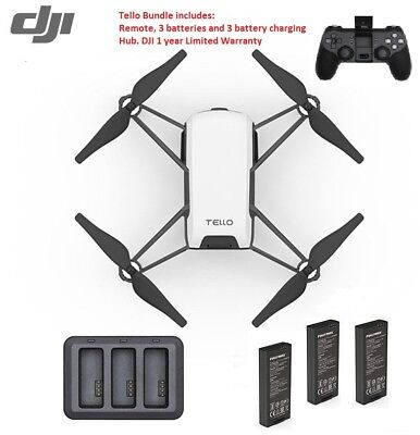Ryze Dji Tello Drone Bundle Includes 3 Batteries  Charging Hub   Remote