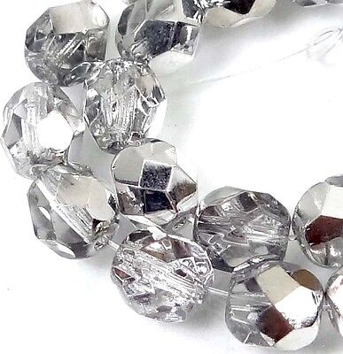 - 25 Firepolish Czech glass Faceted Round Beads - Half Coat Silver Crystal 6mm