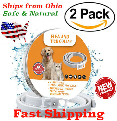 Natural Flea and Tick Collar for Large Dogs 8 Months Control TWO PACK USA 2 ECO