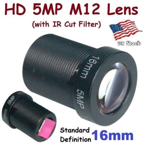 "Sunvision 1/2.5"" HD 5MP Monofocal 16mm 17° M12 Board Lens + IR Cut Filter FPV"