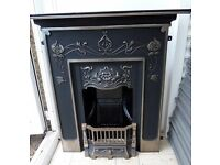 Stunning Cast Iron Metal Fireplace Fire Surround Suite Real Fire - Delivery