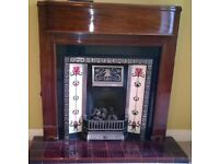 Reproduction Antique Fireplace, cast iron insert, mantelpiece and hearth