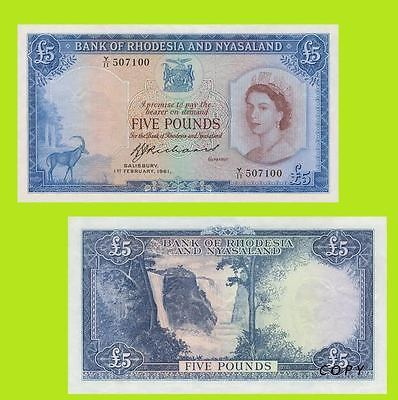 Rhodesia and Nyasaland 5 Pounds banknote Queen Elizabeth 1961.  UNC-Reproduction