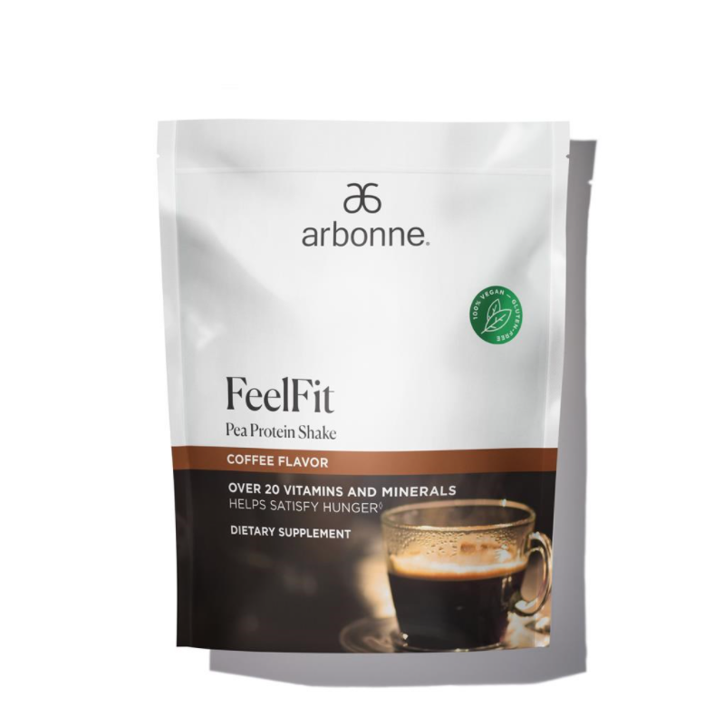 NEW - Arbonne FeelFit Pea Protein Shake - Coffee Flavor (30 Servings) #2967