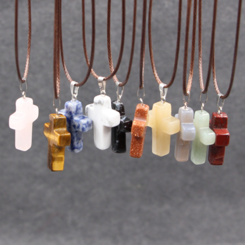 Jewellery - Cross Natural Stone Quartz Charms Pendant Necklace Women/Men Jewelry Choker Gift