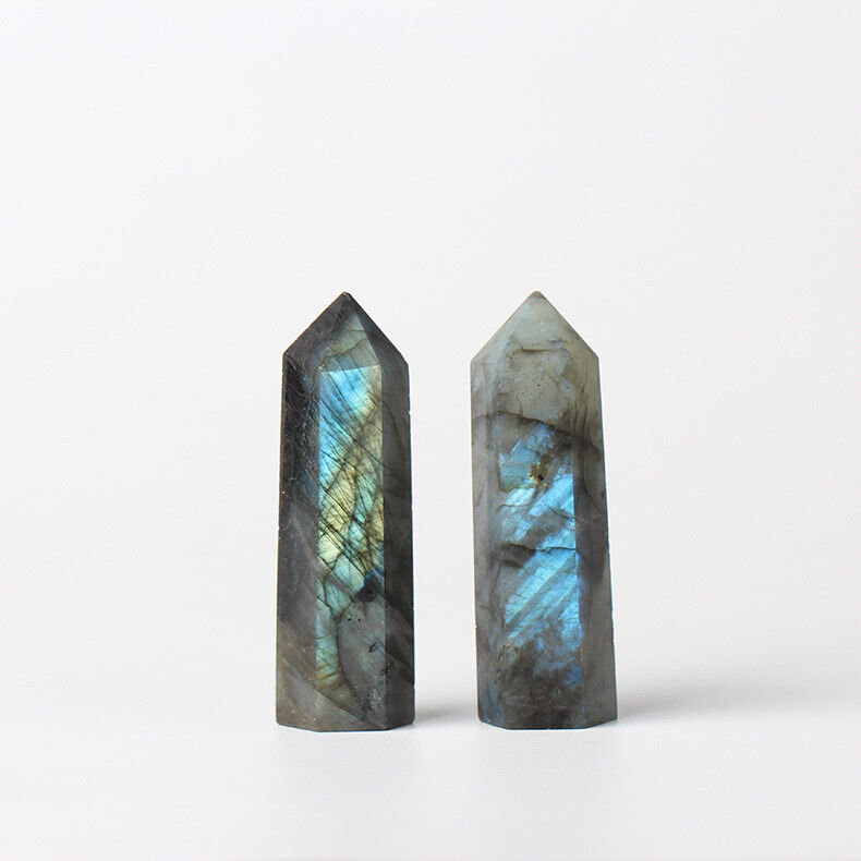 Natural Quartz Labradorite Crystal Point Reiki Healing Obelisk Hexagonal Wand