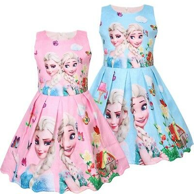 ids Frozen Anna Elsa Print Casual Party Birthday Dresses ZG9 (Kids Frozen Kostüme)