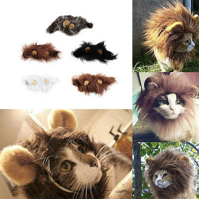 Pet Costume Lion Mane Wig for Cat Halloween Christmas Party Dress Up With Ear S#