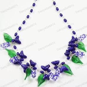BIRDS&LEAVES indigo DARK BLUE murano GLASS BEAD NECKLACE vintage beads bird&leaf