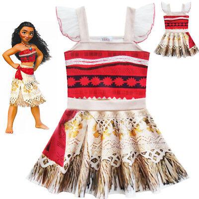 Us Stock    Moana Kids Girls Party Dress Skirts Lovely Birthday Dress  O50