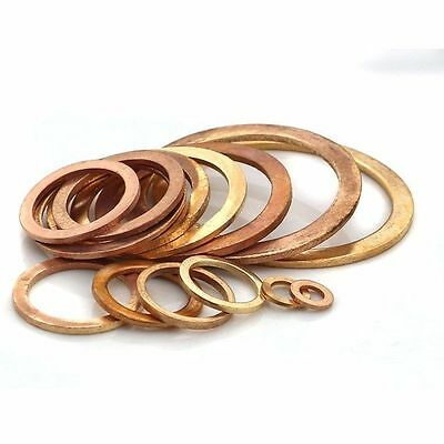 Flat Washer Copper Crush Washers Gasket Seal Ring M5-M48 Thick 1-1.5-2mm