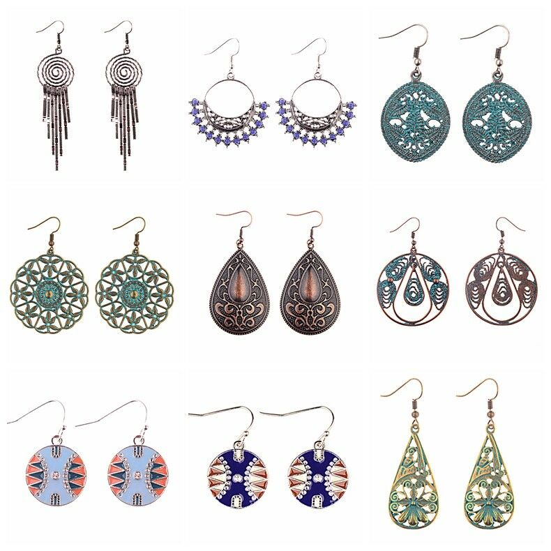 Vintage Bohemian Boho Style Multicolor Round Ethnic Women Drop/Dangle Earrings