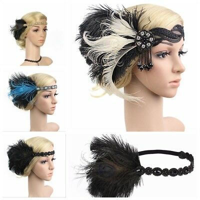 UK 1920s Headband Feather 20's Bridal Great Gatsby Flapper Gangster Headpiece