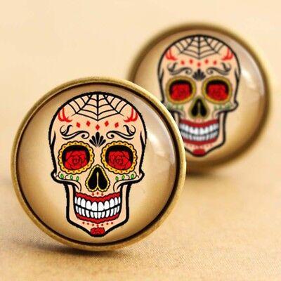Sugar Skull Cufflinks, Rockabilly Halloween Day Dead Tattoo Punk Goth Web Floral