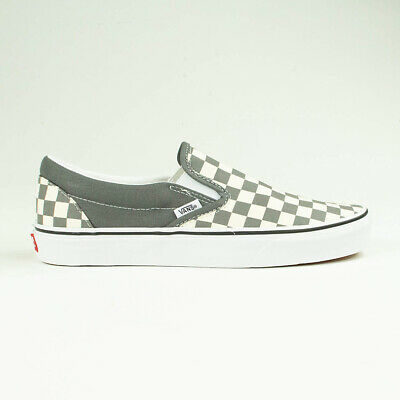 Vans Classic Slip-On Checkerboard Pewter Trainers Shoes UK 4,5,6,7,8,9,10,11,12