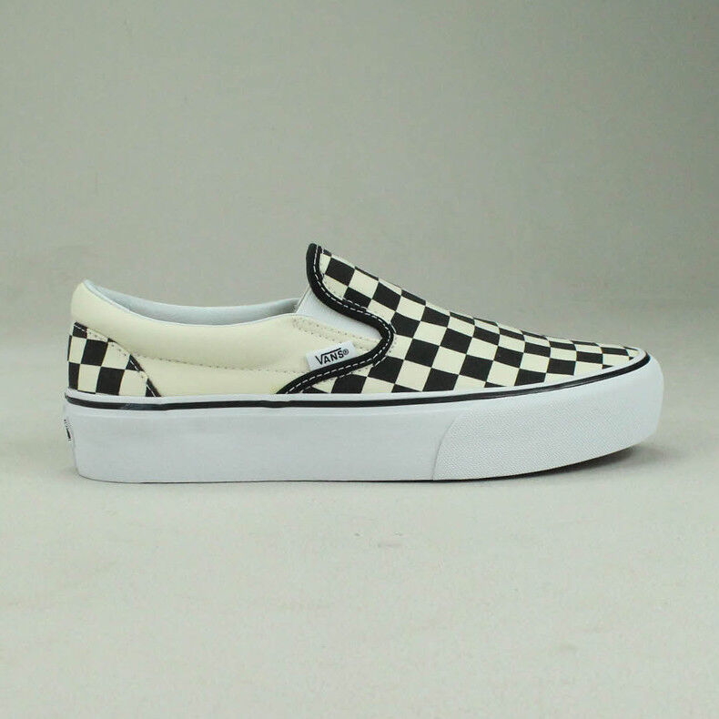 Details zu Vans Slip On Platform Checkerboard BlackWhite Trainers Shoes Sizes UK 4,5,6,7