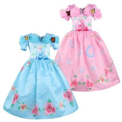 na Elsa Rose Butterfly Casual Party Birthday Dress L2 (Kids Frozen Kostüm)
